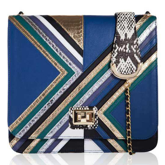 BLUE LEATHER DISCO CHEVRON SATCHEL