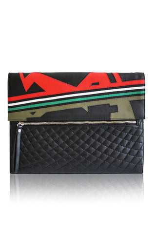 ANGEL JACKSON NIKITA HAND CUT LEATHER ZIPPED DAYTIME CLUTCH BLACK