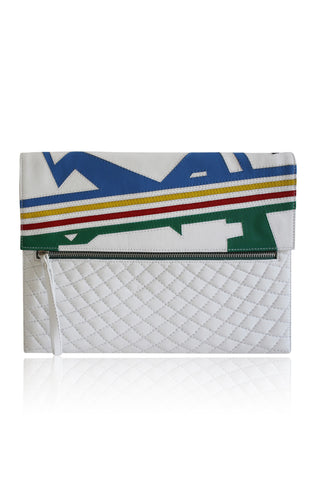 ANGEL JACKSON NIKITA HAND CUT LEATHER ZIPPED DAYTIME CLUTCH WHITE
