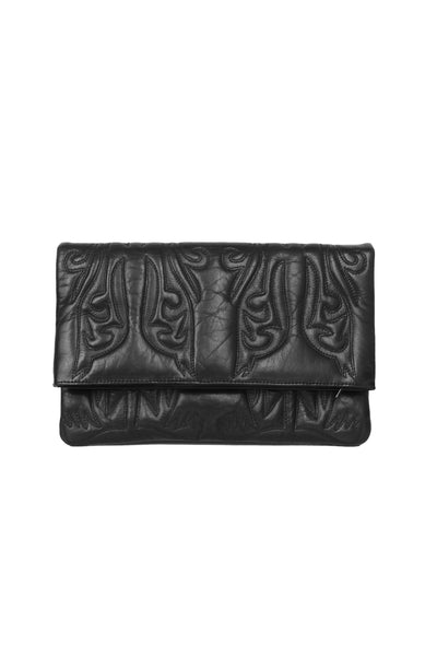 BLACK LEATHER CLUTCH WITH QUILTED COWBOY STITCHING DETAIL