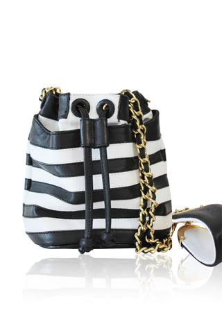ANGEL JACKSON STRIPED APPLIQUE LEATHER MINI DUFFLE BAG IN BLACK AND WHITE