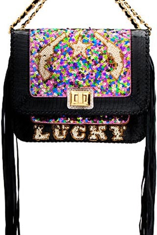 LUCKY SEQUIN AND SNAKESKIN SATCHEL IN BLACK