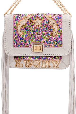 LUCKY SEQUIN SATCHEL IN WHITE