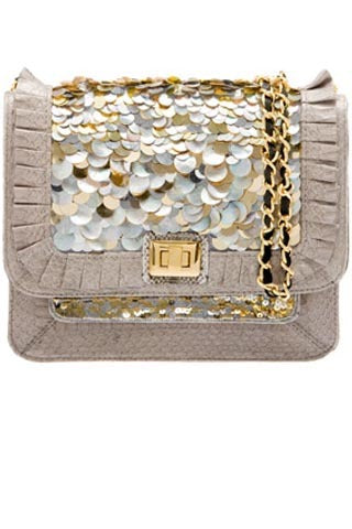 Iconic Angel Jackson Satchel in Light Grey snakeskin with hand embellished Mother of Pearl and Gold Pailettes