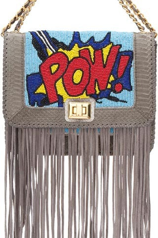 Iconic Angel Jackson Pop Art 'Pow Satchel' || Hand beaded with snakeskin trim