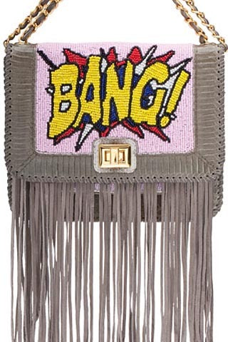 Angel Jackson Pop Art 'Bang' satchel || Hand Beading with snakeskin trim