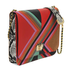 MULTI COLOUR CHEVRON STRIPED SHOULDER BAG WITH GOLD CHAIN IN RED