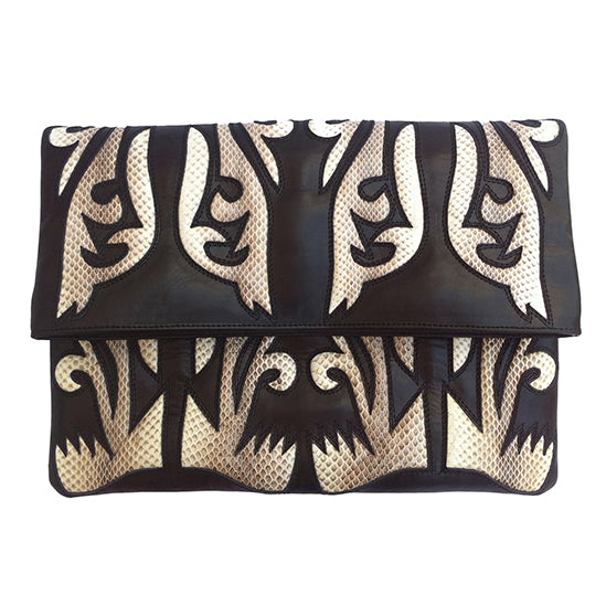 BLACK LEATHER CLUTCH WITH NATURAL SNAKESKIN APPLIQUE COWBOY DETAIL