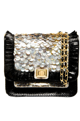 PEARLY QUEEN SATCHEL IN BLACK