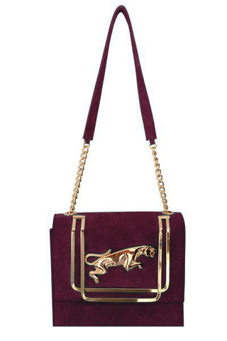 plum coloured suede evening bag with gold jaguar motif