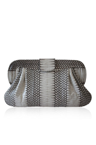 NATURAL SNAKESKIN LEATHER CHANDRA CLUTCH