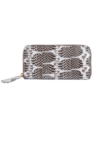 Classic Angel Jackson Black and White Monochrome Snakeskin Zip Wallet