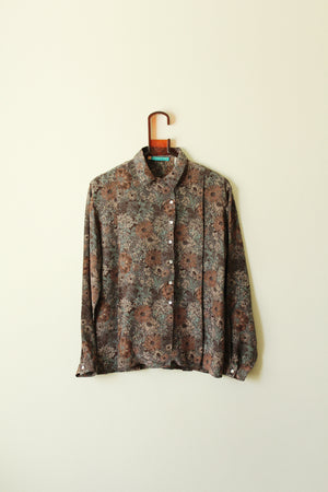 1980's CACHAREL Floral Silk Blouse