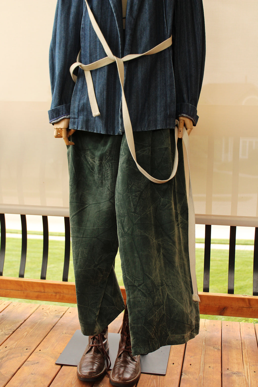 1980's Dark Green Mineral Washed Silk Pants