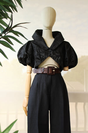 1930's Black Balloon Sleeve Crop Top