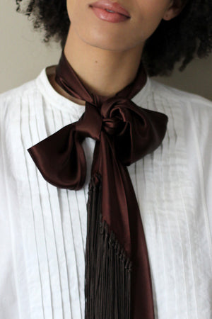 1920's fringed silk satin scarf