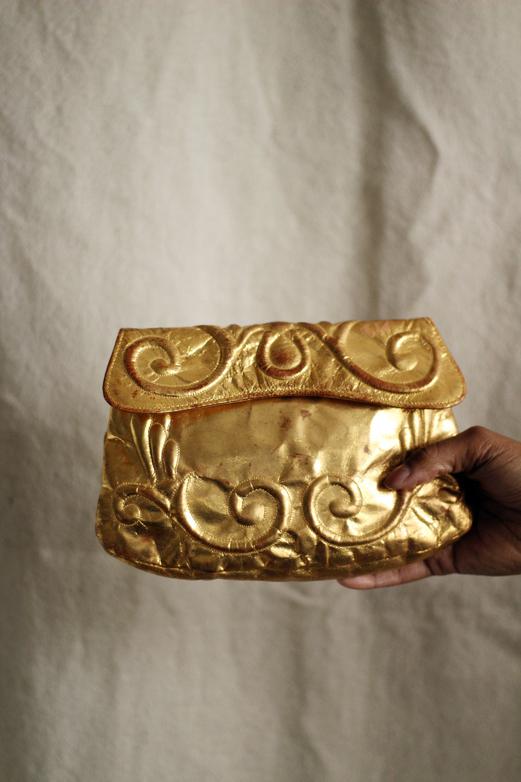 1930's Gold Leather Trapunto Clutch