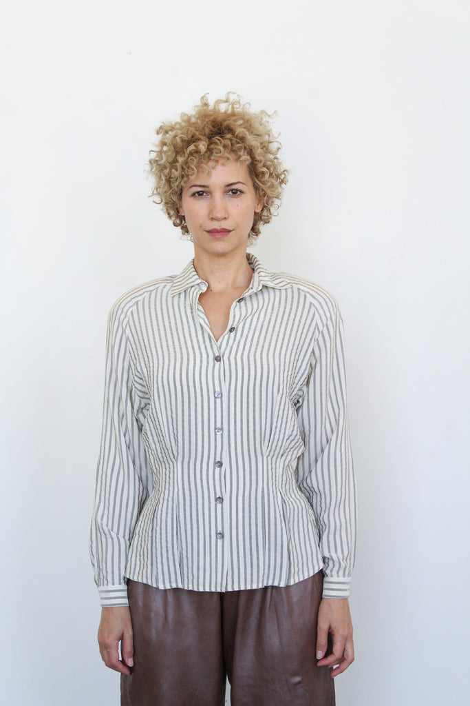 1980's striped silk seersucker blouse | VINTAGE