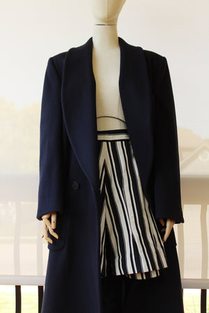 1980's ELLEN TRACY Navy Overcoat