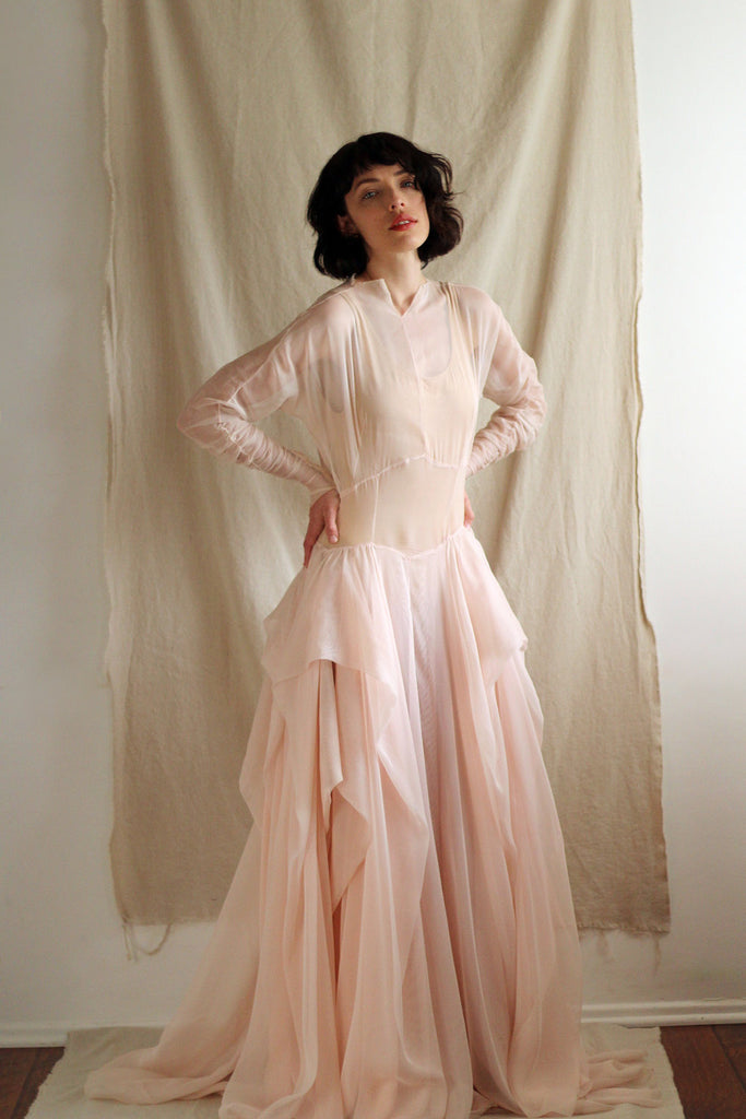1940's Couture Draped Gown