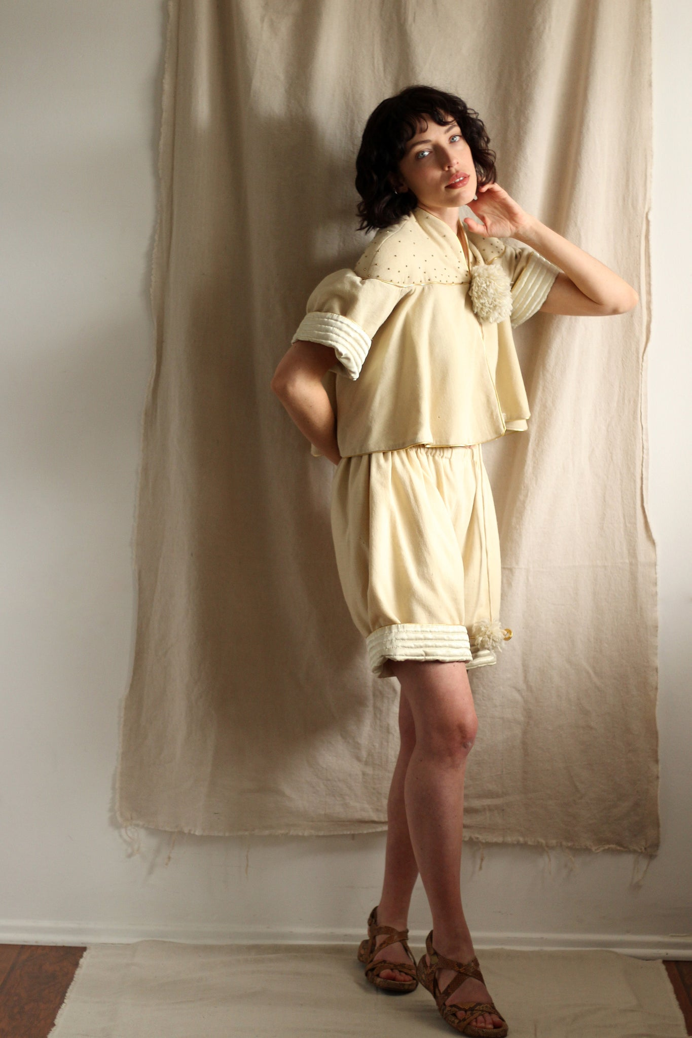 1960's Wool and Satin Playsuit Set