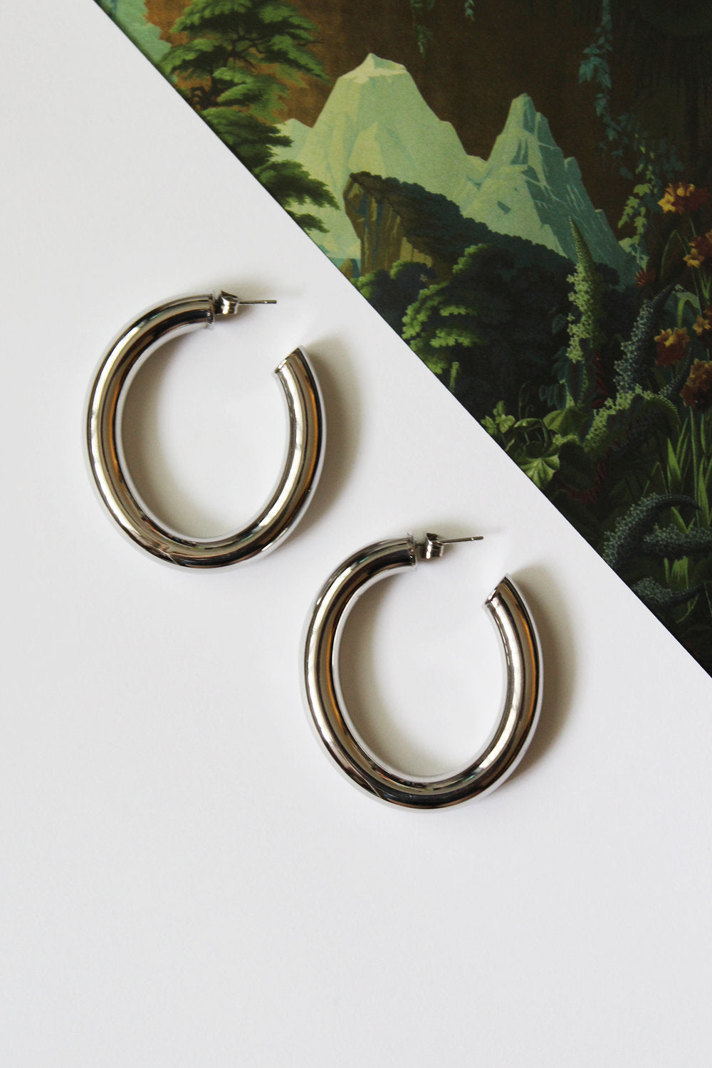 LIMITED EDITION Silver Oval Tube Earrings
