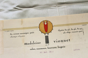 1924 MADELEINE VIONNET Billhead for Eleonora Sears