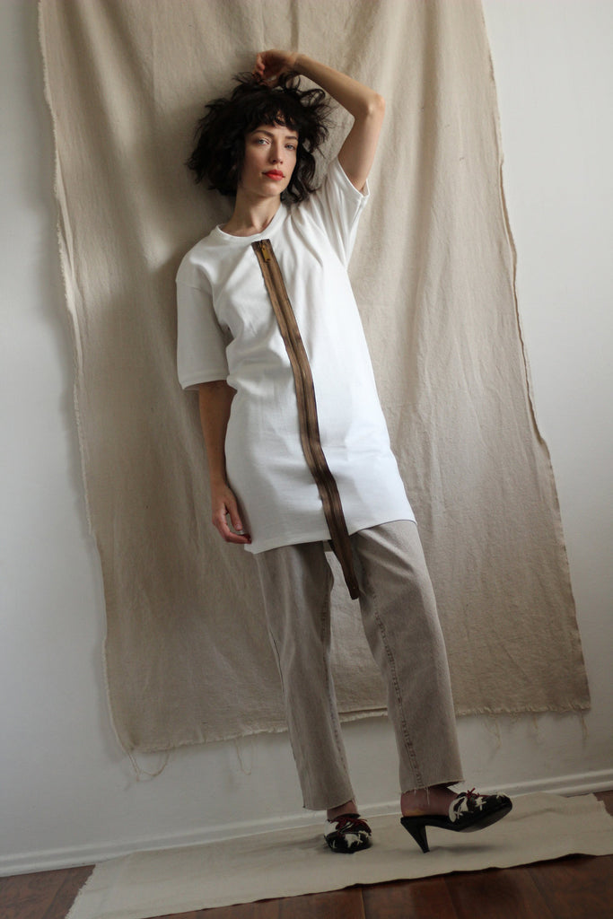 Reworked Vintage Zipper Tunic Tee