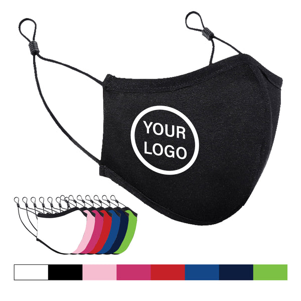 Custom Printed Cotton Masks with Adjustable Elastic Earloop - Max 3 solid colours screen printed