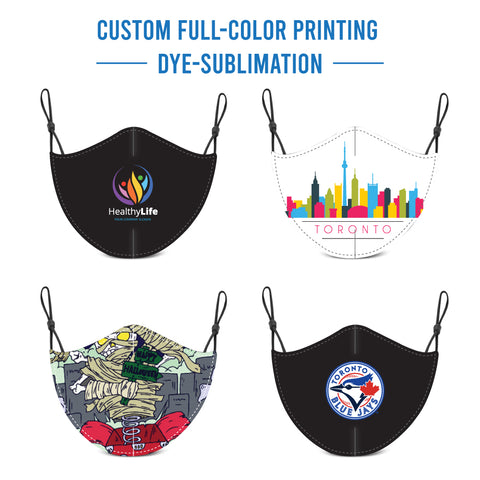 Custom Full Colour Printed Brushed Polyester/Cotton Masks with Adjustable Elastic Earloop - Dye Sublimation Printed,  Individually packed in ziplock bag
