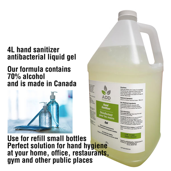 4L Hand Sanitizer - Antibacterial Liquid Gel, One Bottle, Made in Canada