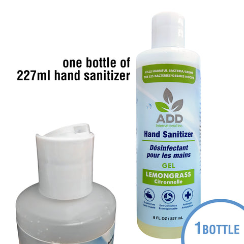 8oz (227ml) Hand Sanitizer - Antibacterial Liquid Gel, One Bottle, Made in Canada