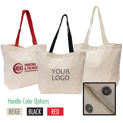 "Large Strong Canvas Bag with Magnetic Button Closure 18"" W x 5""D x 14"" H - 8oz"