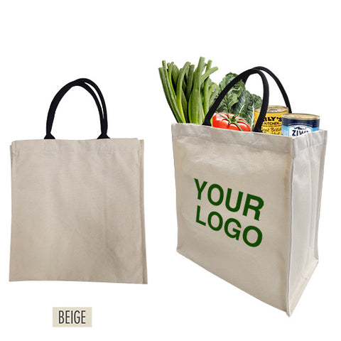 "Canvas Grocery Tote Bag 13"" W x 7""D x 14"" H -12oz"