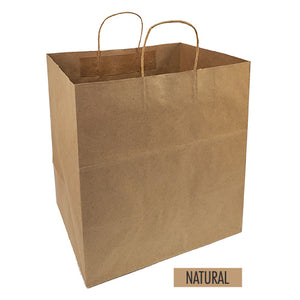 "Bulk 200pcs per Box -  Plain/Blank Kraft Paper Bags - Large Take Out Size 14""W x 10""D x 15.5""H"