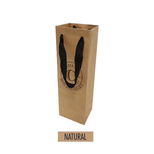 "Manhattan Style 1 Bottle Paper Wine Bag 4"" x 3.25"" x 12"" - 120gsm Item #SKPW1_0432512"