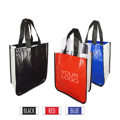 "Small Fashion Style Laminated Non-Woven Bag with Curved Bottom, Glossy Finish 10""W x 4""D x 13""H - 110gsm"
