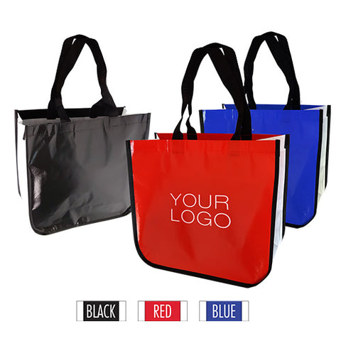 "Large Fashion Style Laminated Non-Woven Bag with Curved Bottom, Glossy Finish 16""W x 6""D x 14""H - 110gsm"