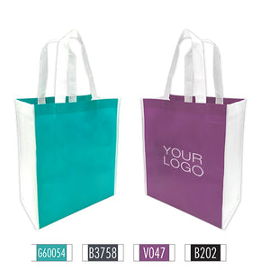 "Heavy Duty 2 Tone Mixed Colour Promotional Non-woven Shopping Bags - Medium 12"" x 6"" x 14"" - 100gsm"