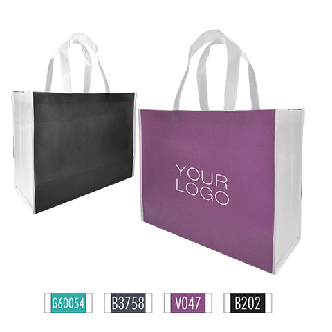 "Heavy Duty 2 Tone Mixed Colour Promotional Non-woven Shopping Bags - Large 17""W x 7""D x 13""H - 100gsm"