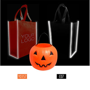 "Reflective Non-woven Shopping Bags Halloween Style - Medium 12"" x 6"" x 14"""