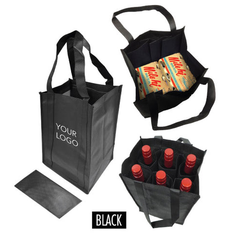 "6-Bottle Non-Woven Wine Bag 10.25""W x 6.5""D x 13""H - 100gsm"