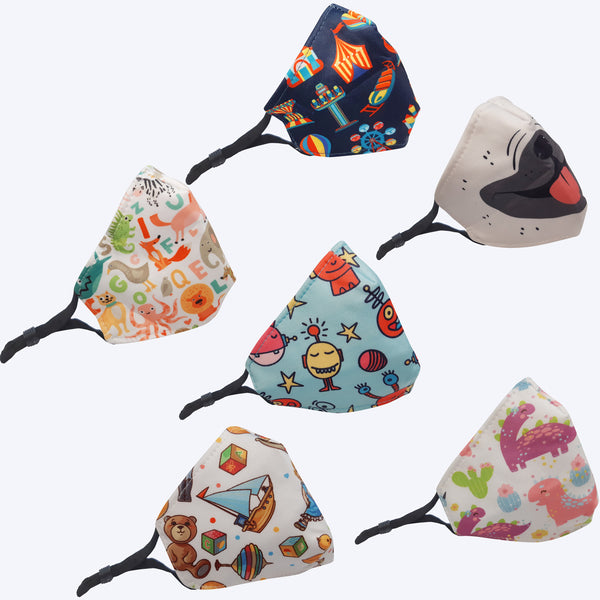 6 Cute Designs Reusable Kids Masks with Adjustable Elastic Earloop,2 Layers Breathable and Comfortable for 4 - 10 years old - Group Order Save More!