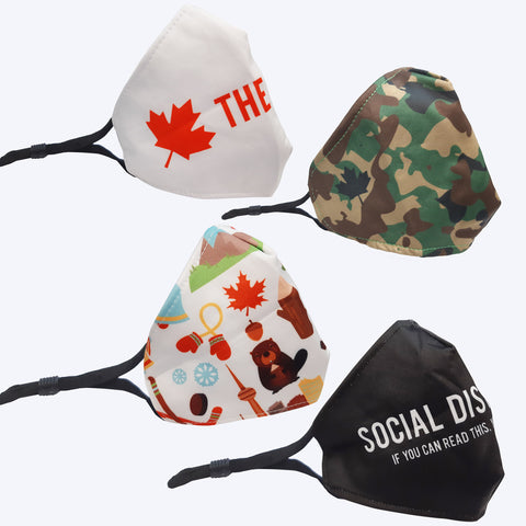 4 Different Designs Adult Reusable Masks with Canadian theme - Adjustable Elastic Earloop (Group order 4 pcs or more for better price, you can mix the designs)