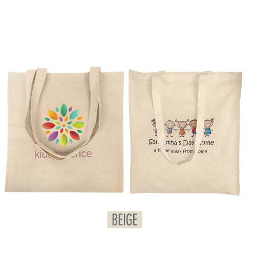 "Full Colour Printing Canvas Tote Bag 15"" W x 16"" H -5oz Natural Colour"
