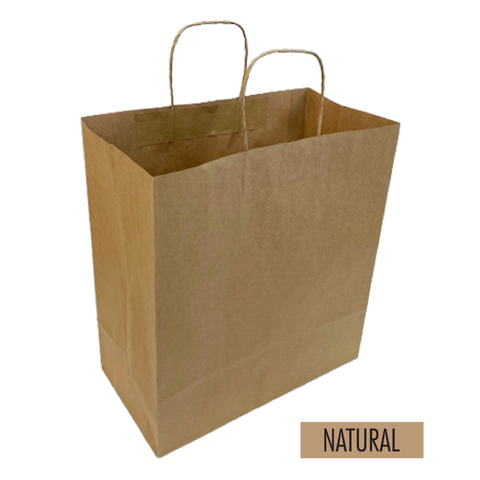 "Bulk 250pcs per Box -  Plain/Blank Kraft Paper Bags - Medium Take Out Size 12.5""W x 7""D x 14""H"