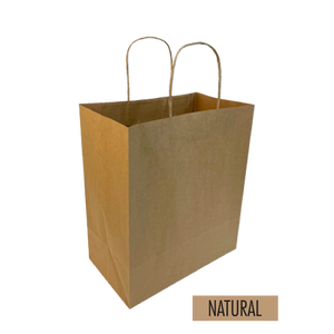 "Bulk 250pcs per Box -  Plain/Blank Kraft Paper Bags - Small Take Out Size 10""W x 6""D x 12""H"