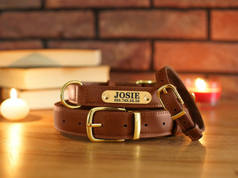 Personalized Genuine Brown Leather Collar