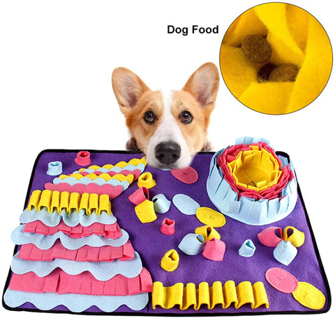 snuffle mat is a great interactive slow feeder mat toy for dogs