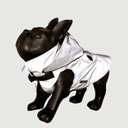 Morikukko WOOF in Grey Reflective Waterproof Hoodie Jacket with Backpack-dog coat-Baxter's Petshop